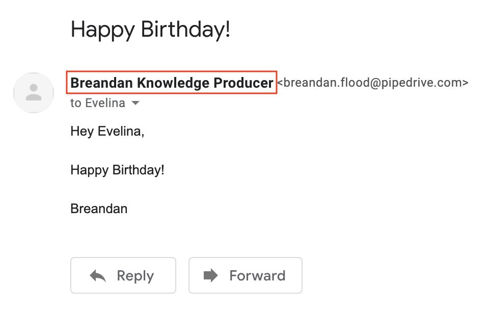 Email Sender name