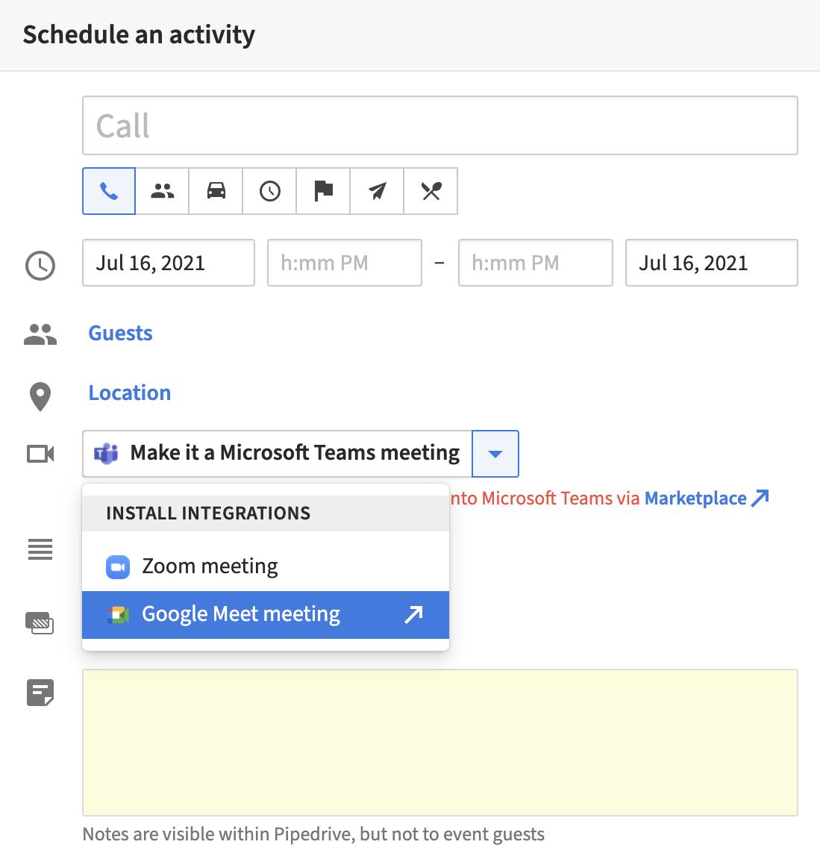 goog meet in activity