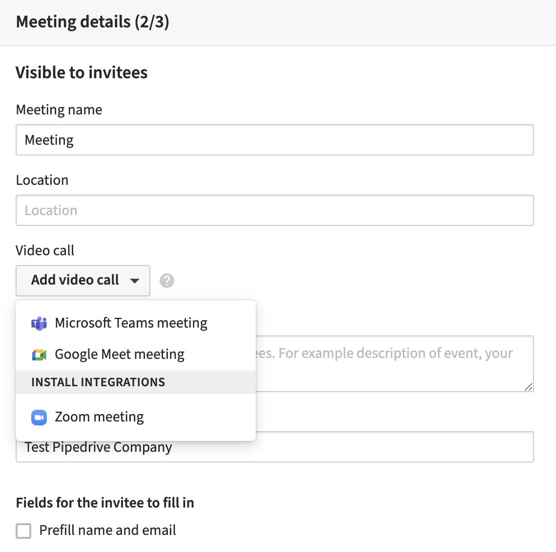scheduler video call integration