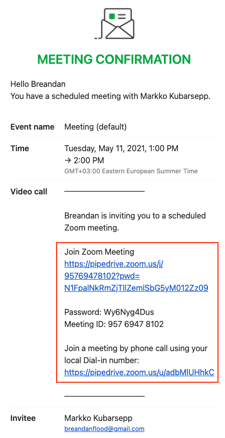 Confirmación por correo de reunión